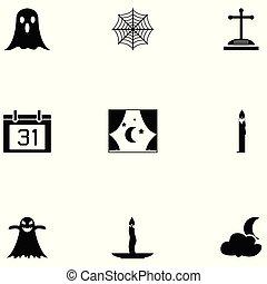 komplet, halloween, ikona