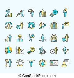 komplet, handlowe ikony, kolor, ludzie, kreska