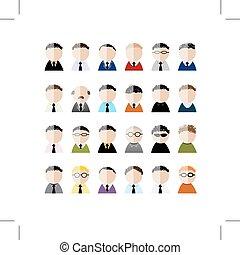 komplet, handlowe mężczyźni, ikony, rysunek, projektować, narody, twój