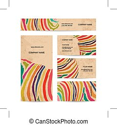 komplet, handlowy, barwny, projektować, zebra odcisk, bilety