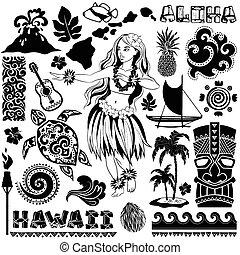 komplet, hawajczyk, ikony, symbolika, wektor, retro