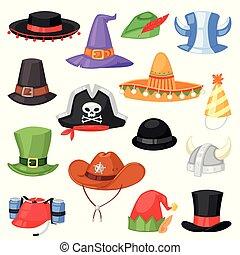 komplet, headwear, świętując, komik, zabawny, elf, odizolowany, stroik, partia, biały kapelusz, pirat, ilustracja, chrisrmas, urodziny, tło, kłobuk, rysunek, kowboj, korona, wektor, albo