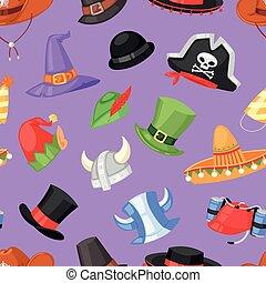 komplet, headwear, świętując, komik, zabawny, próbka, elf, seamless, stroik, partyjny kapelusz, pirat, ilustracja, chrisrmas, urodziny, tło, kłobuk, rysunek, kowboj, korona, wektor, albo