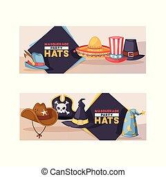 komplet, headwear, świętując, komik, zabawny, próbka, stroik, partyjny kapelusz, pirat, ilustracja, urodziny, czarownica, tło, kłobuk, rysunek, karnawał, kowboj, korona, wektor, albo, zasłona