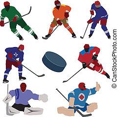 komplet, hokej, lód