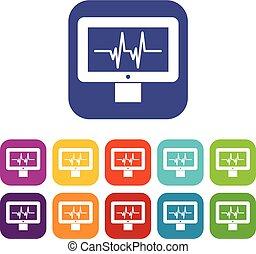 komplet, hydromonitor, elektrokardiogram, ikony