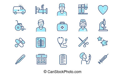 komplet, ikona, medyczny, healthcare