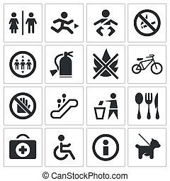 komplet, ikona, międzynarodowy, znaki