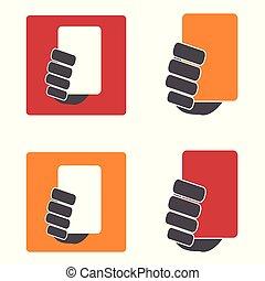 komplet, ikony, żółty, czerwony, piłka nożna, karta