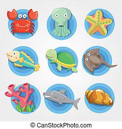 komplet, ikony, akwarium, zwierzę, rysunek