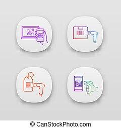 komplet, ikony, barcodes, app