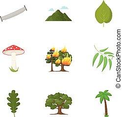 komplet, ikony, cielna, symbol, zbiór, style., wektor, ilustracja, pień, rysunek, las