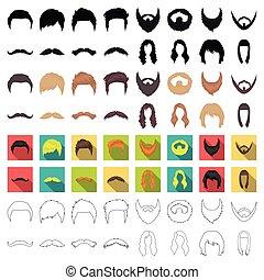 komplet, ikony, cielna, symbol., zbiór, style., wektor, ilustracja, rysunek, broda