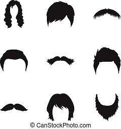 komplet, ikony, cielna, symbol, zbiór, wektor, czarnoskóry, ilustracja, broda, style., pień