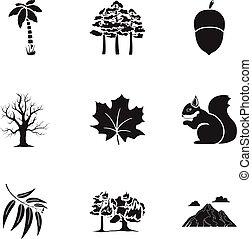 komplet, ikony, cielna, symbol, zbiór, wektor, czarnoskóry, ilustracja, pień, style., las