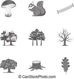 komplet, ikony, cielna, symbol, zbiór, wektor, ilustracja, monochromia, pień, style., las