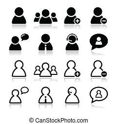 komplet, ikony, -, czarnoskóry, użytkownik, biznesmen
