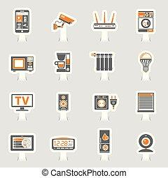 komplet, ikony, dom, rzeźnik, internet, rzeczy, mądry