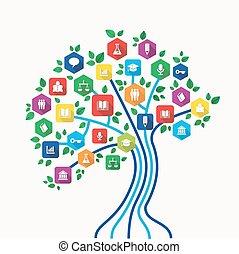 komplet, ikony, drzewo, pojęcie, e-oświata, technologia wykształcenia