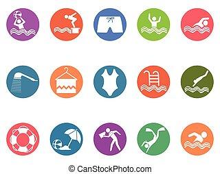 komplet, ikony, guzik, okrągły, kałuża, pływacki