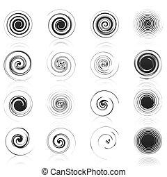 komplet, ikony, ilustracja, spirals., wektor, czarnoskóry