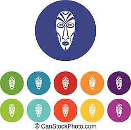 komplet, ikony, kolor, maska, wektor, afrykanin
