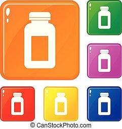 komplet, ikony, kolor, słój, wektor, medycyna