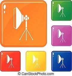komplet, ikony, kolor, wyposażenie, wektor, oświetlenie, studio