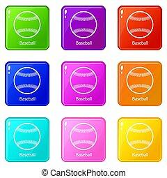 komplet, ikony, kolor, zbiór, baseball, 9