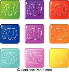 komplet, ikony, kolor, zbiór, baseballowa rękawiczka, 9