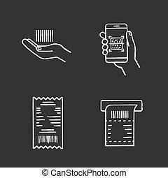 komplet, ikony, kreda, barcodes