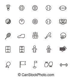 komplet, ikony, lekkoatletyka, wektor, tło, biały