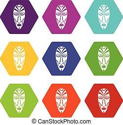 komplet, ikony, maska, wektor, afrykanin, 9