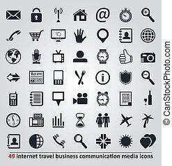 komplet, ikony, media, podróż, wektor, komunikacja, internet, handlowy