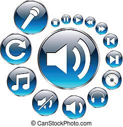 komplet, ikony, muzyka, blue.