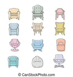 komplet, ikony, odizolowany, colorfull, wektor, fotele
