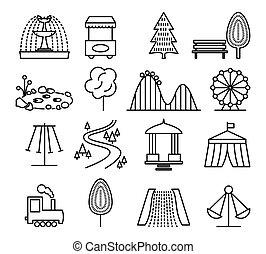 komplet, ikony, park, wektor, rozrywka, kreska, krajobraz