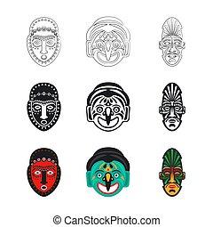 komplet, ikony, plemienna maska, odizolowany, tło, afrykanin, biały