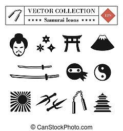 komplet, ikony, powinowaty, wysoki, samuraj, wektor, ninja, jakość