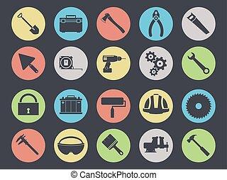 komplet, ikony, praca, odizolowany, czarnoskóry, narzędzia