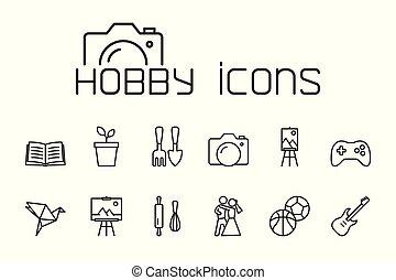 komplet, ikony, tło, hobby, kreska, biały