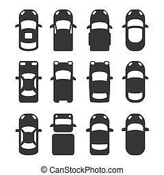 komplet, ikony, wóz, górny, tło., wektor, biały, prospekt