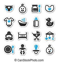 komplet, ikony, wektor, niemowlę, dzieciństwo