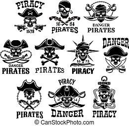 komplet, ikony, Wesoły, pirat, Wektor,  Roger, Albo
