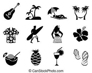 komplet, ikony, wyspa, urlop, tropikalna plaża