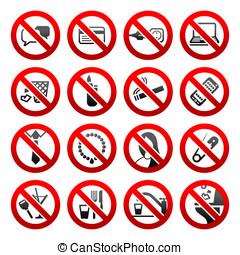 komplet, ikony, zabroniony, symbolika, biuro, czarnoskóry, znaki