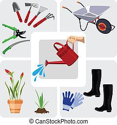 komplet, illustr, wektor, ogrodnictwo, ikony
