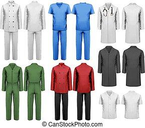 komplet, illustration., barwny, praca, clothes., wektor, projektować, biały, template.
