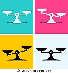 komplet, illustration., barwny, skalpy, ikony, symbol., tło., wektor, tabela