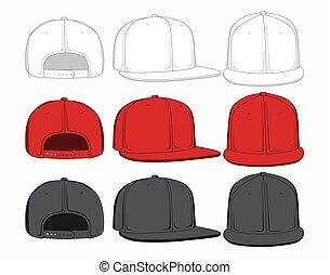 komplet, illustration., czapki, wstecz, przód, wektor, prospekt., bok